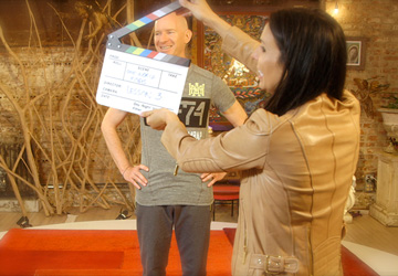 Martine & Eddie on the Ashtanga Yoga Primary Series set at Deepak Homebase, getting ready to tape Lesson 3.