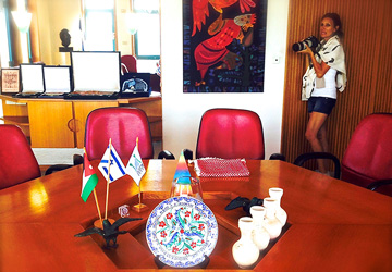 Martine on location filming the boardroom of the 1994 Israel & Jordan peace treaty between King Hussein and Prime Minister Rabin.