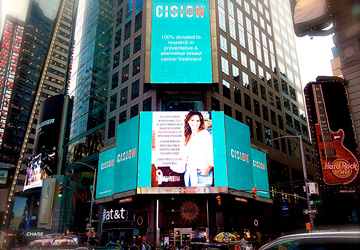 October Breast Cancer Awareness Month Campaign on Times Square.