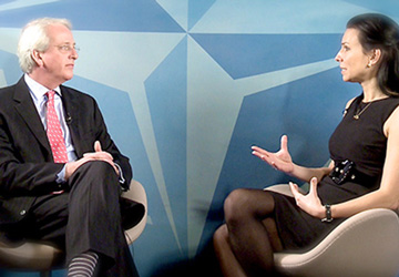 US Ambassador to NATO Ivo Daalder & Martine taping a show at the NATO headquarters studio in Bruxelles.